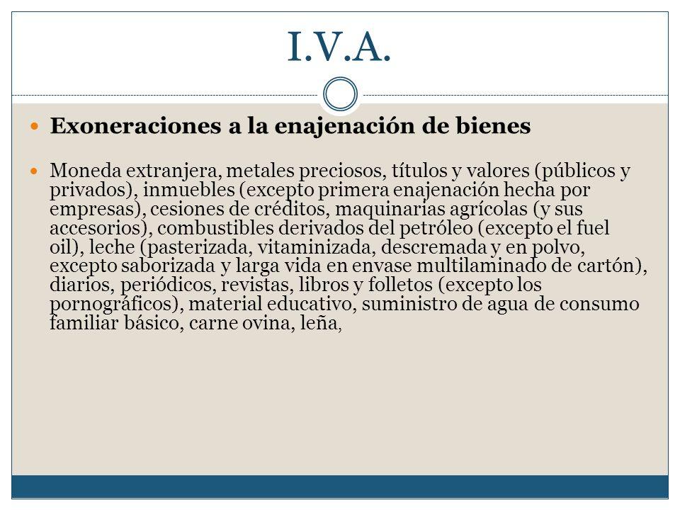 I.V.A. Exoneraciones a la enajenación de bienes