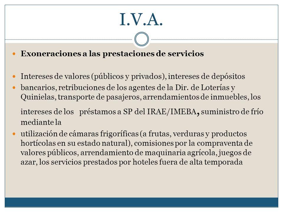 I.V.A. Exoneraciones a las prestaciones de servicios