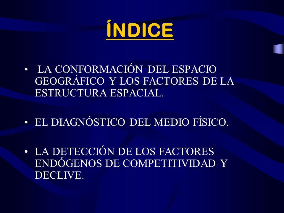 ÍNDICE LA CONFORMACIÓN DEL ESPACIO GEOGRÁFICO Y LOS FACTORES DE LA ESTRUCTURA ESPACIAL. EL DIAGNÓSTICO DEL MEDIO FÍSICO.