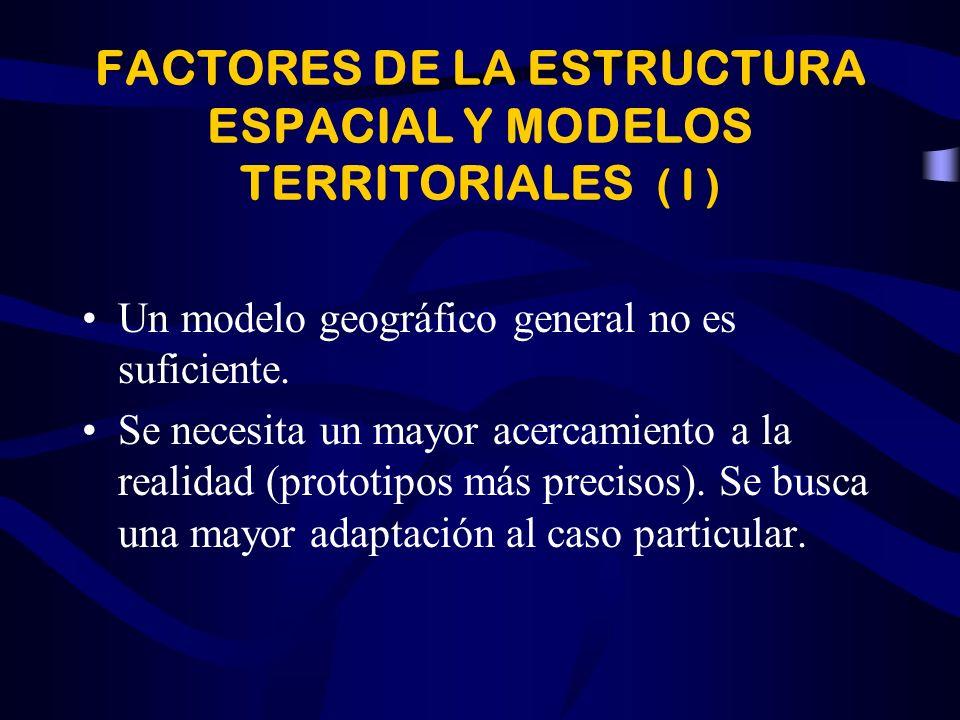 FACTORES DE LA ESTRUCTURA ESPACIAL Y MODELOS TERRITORIALES ( I )