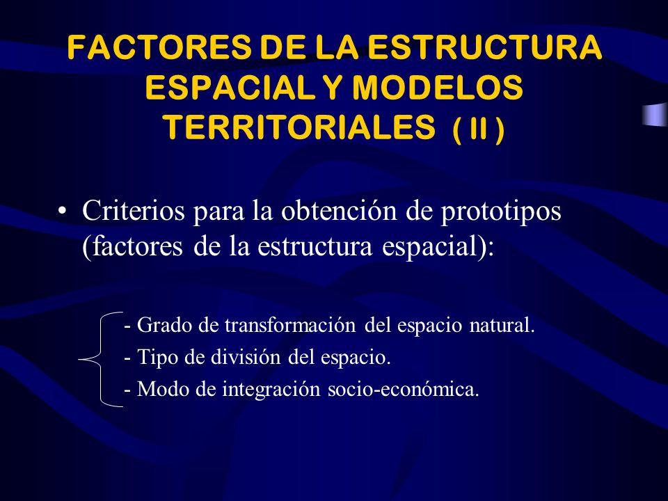 FACTORES DE LA ESTRUCTURA ESPACIAL Y MODELOS TERRITORIALES ( II )