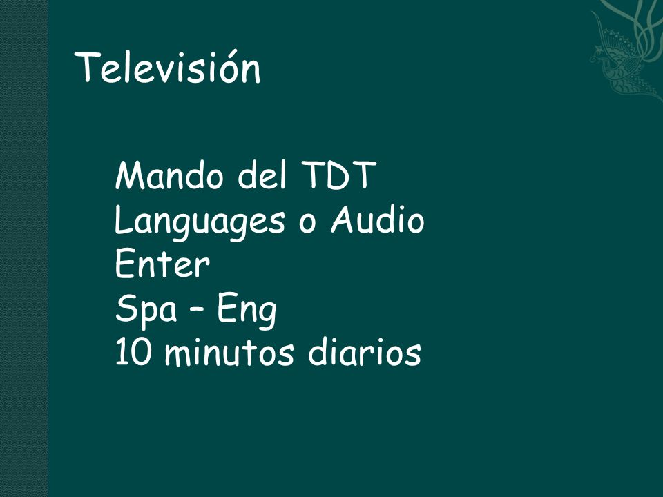 Televisión Mando del TDT Languages o Audio Enter Spa – Eng