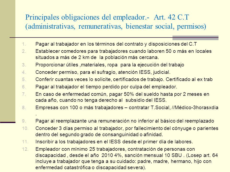Principales obligaciones del empleador. - Art. 42 C