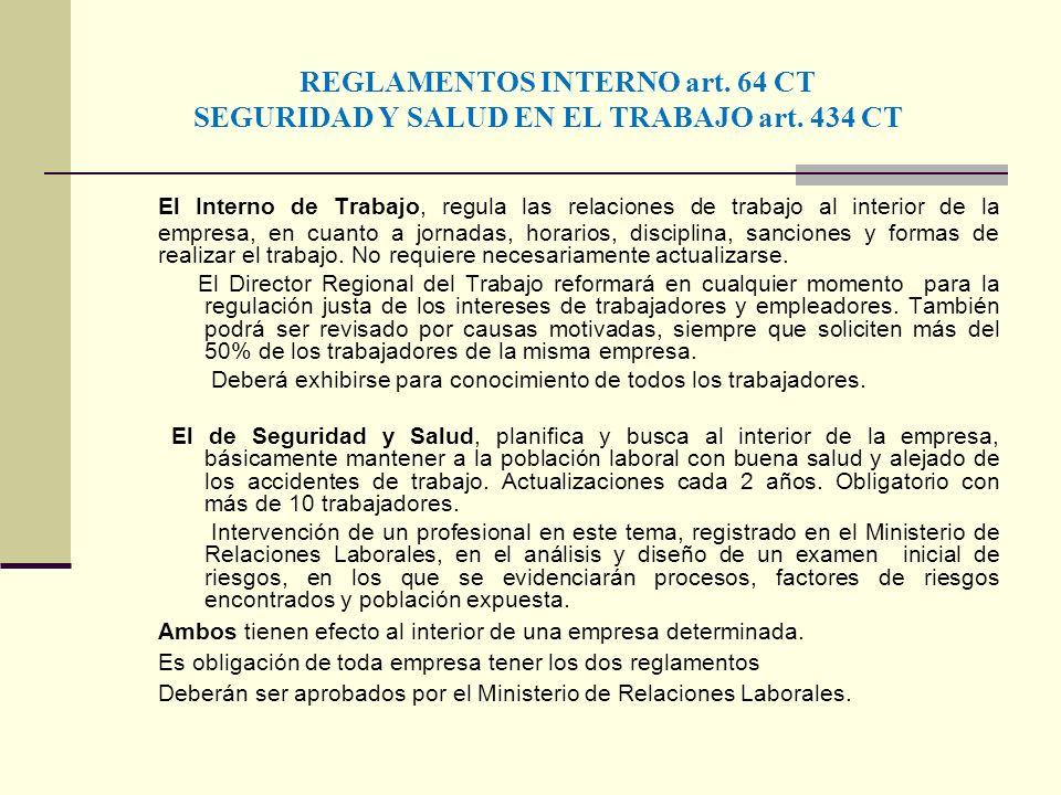 REGLAMENTOS INTERNO art. 64 CT SEGURIDAD Y SALUD EN EL TRABAJO art