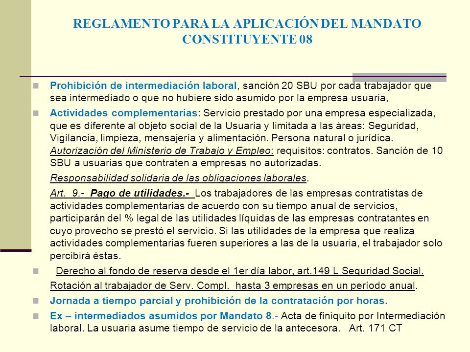 REGLAMENTO PARA LA APLICACIÓN DEL MANDATO CONSTITUYENTE 08