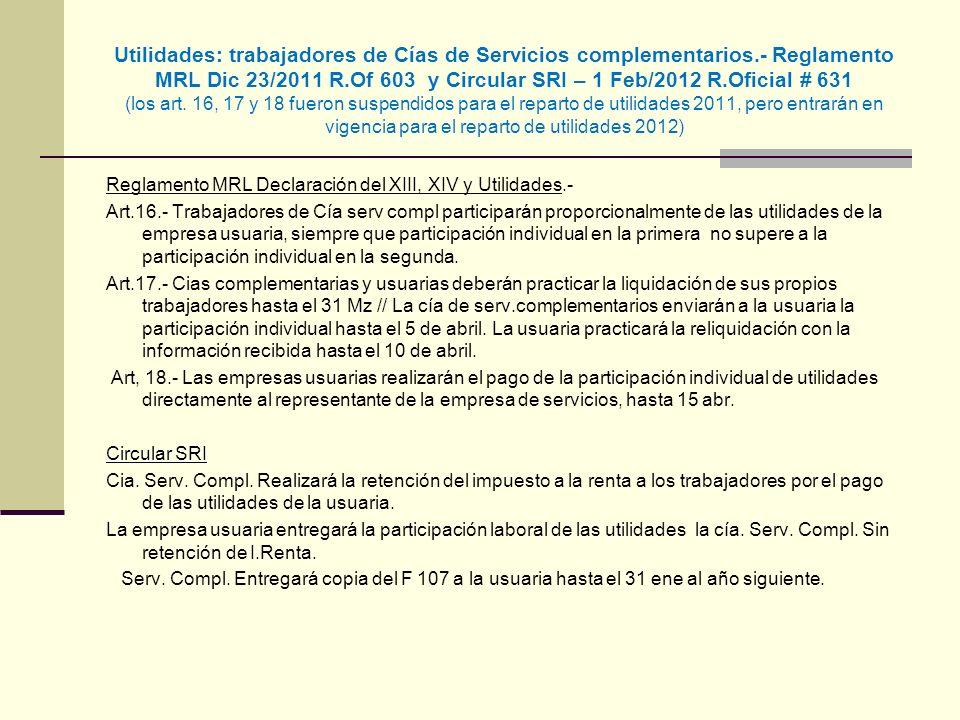 Utilidades: trabajadores de Cías de Servicios complementarios