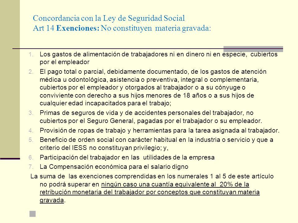 Concordancia con la Ley de Seguridad Social Art 14 Exenciones: No constituyen materia gravada: