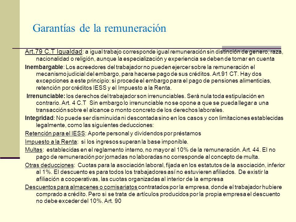 Garantías de la remuneración