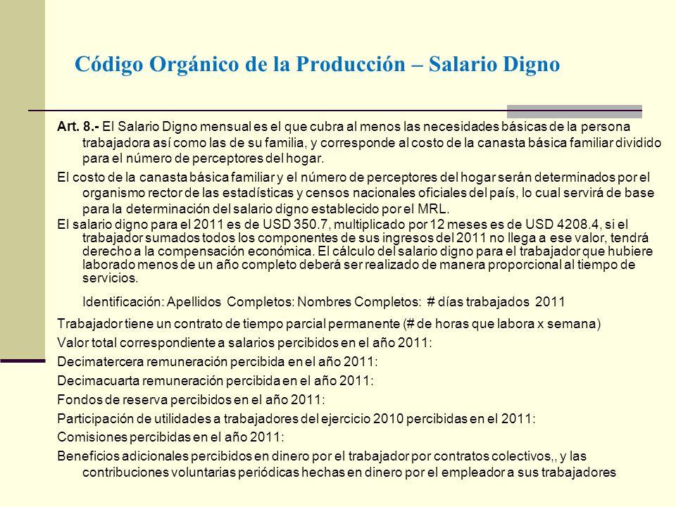 Código Orgánico de la Producción – Salario Digno