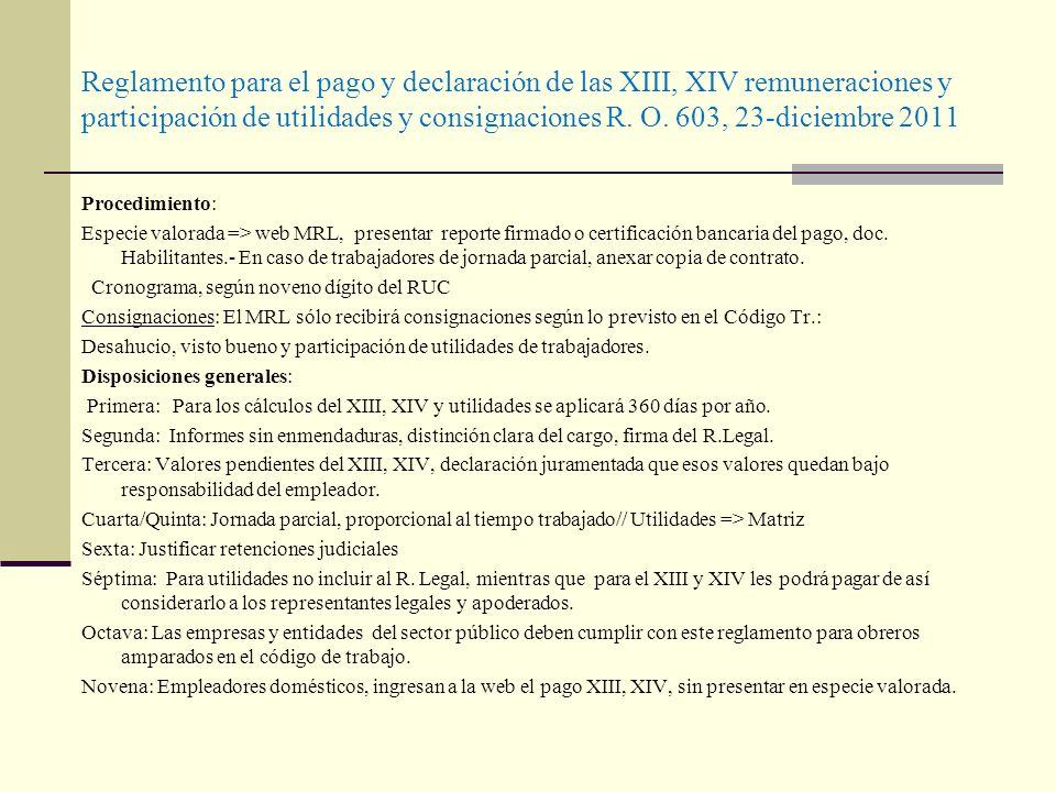 Reglamento para el pago y declaración de las XIII, XIV remuneraciones y participación de utilidades y consignaciones R. O. 603, 23-diciembre 2011