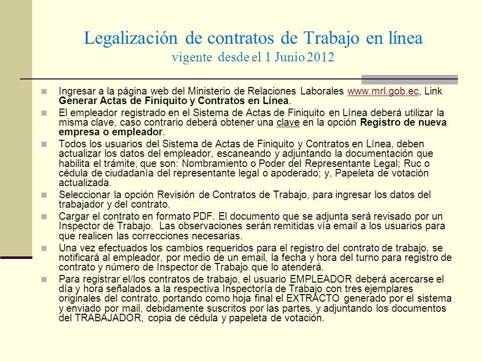 Legalización de contratos de Trabajo en línea vigente desde el 1 Junio 2012