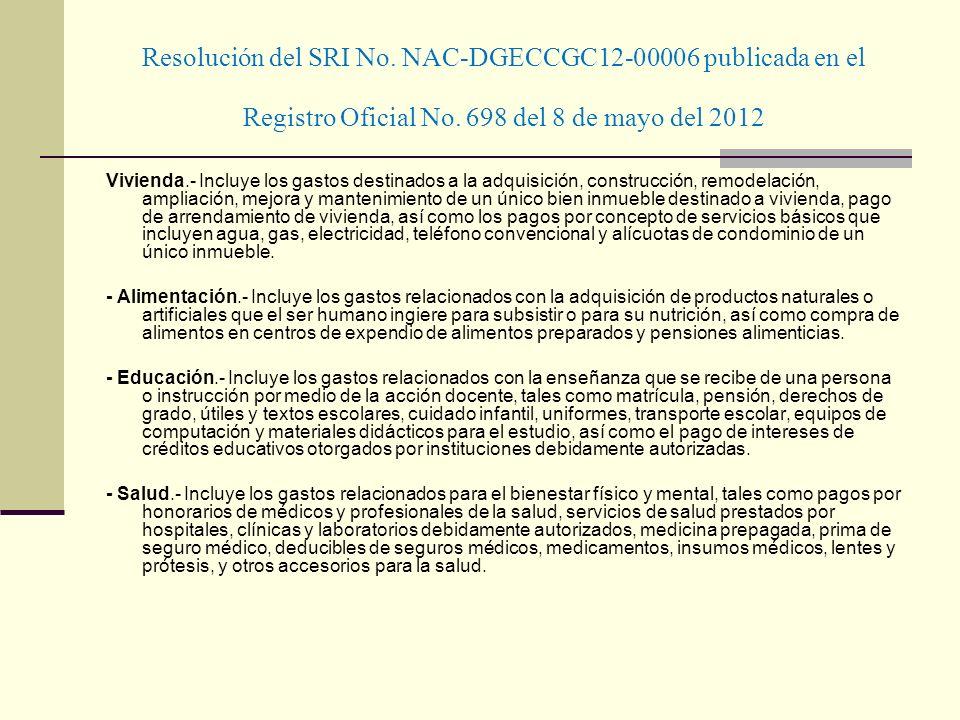 Resolución del SRI No. NAC-DGECCGC12-00006 publicada en el Registro Oficial No. 698 del 8 de mayo del 2012