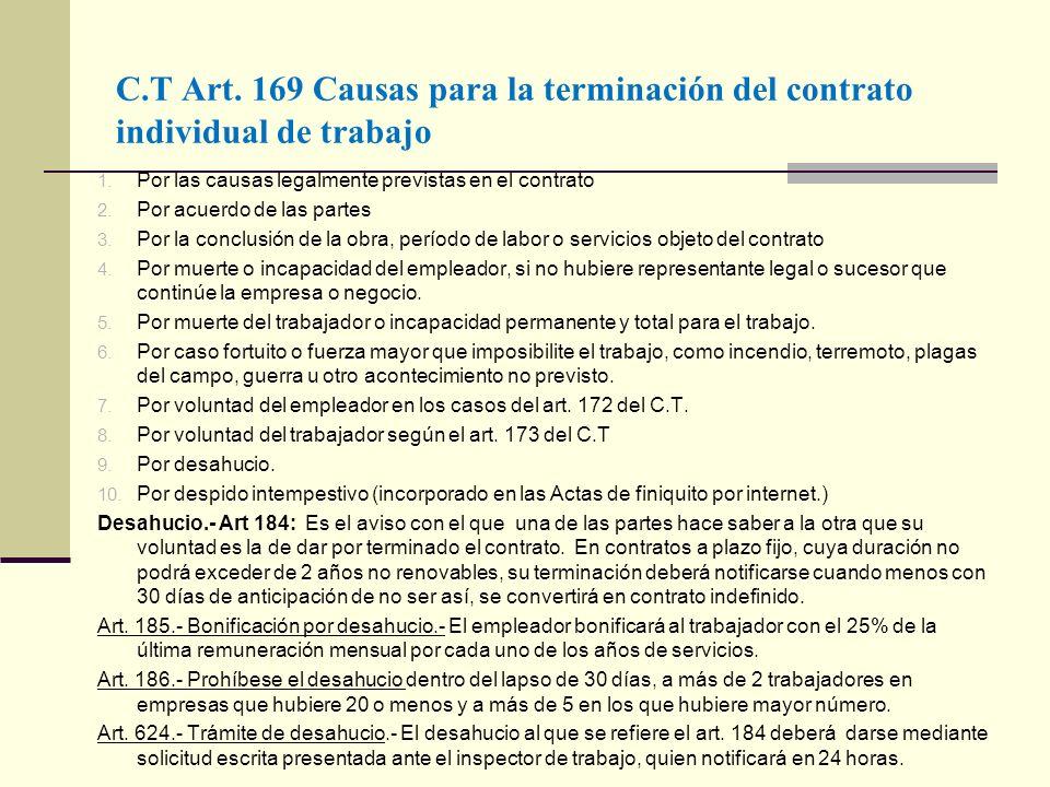 C.T Art. 169 Causas para la terminación del contrato individual de trabajo