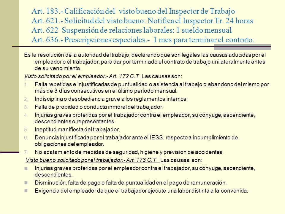 Art. 183. - Calificación del visto bueno del Inspector de Trabajo Art