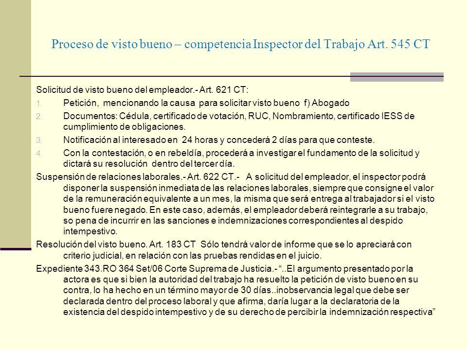 Proceso de visto bueno – competencia Inspector del Trabajo Art. 545 CT