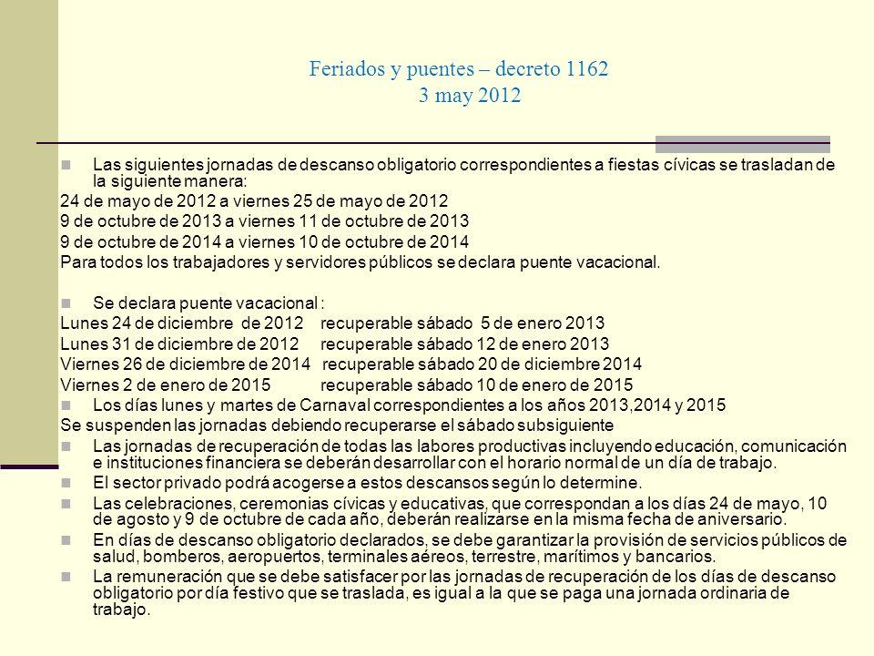 Feriados y puentes – decreto 1162 3 may 2012