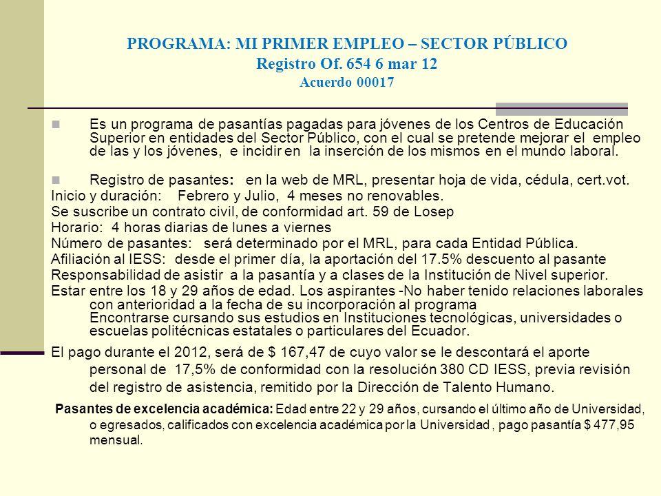 PROGRAMA: MI PRIMER EMPLEO – SECTOR PÚBLICO Registro Of