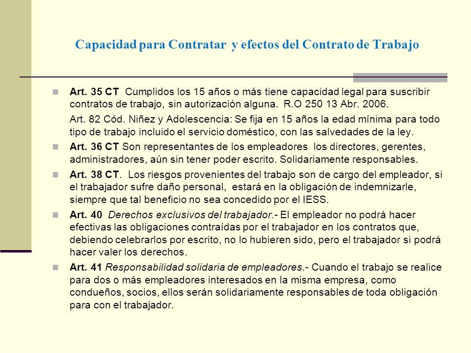 Capacidad para Contratar y efectos del Contrato de Trabajo