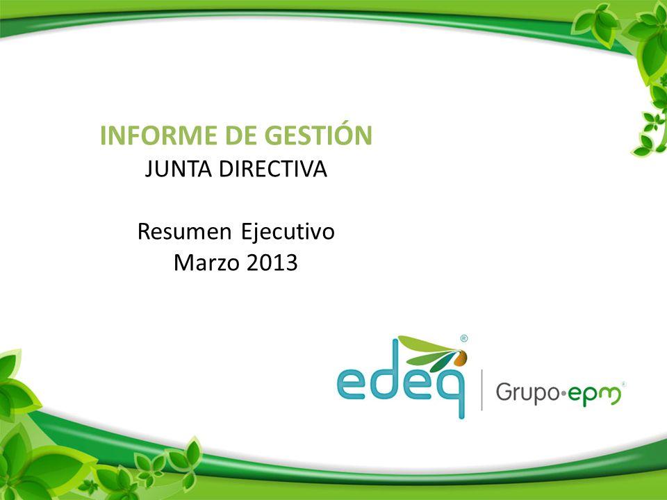 INFORME DE GESTIÓN JUNTA DIRECTIVA Resumen Ejecutivo Marzo 2013