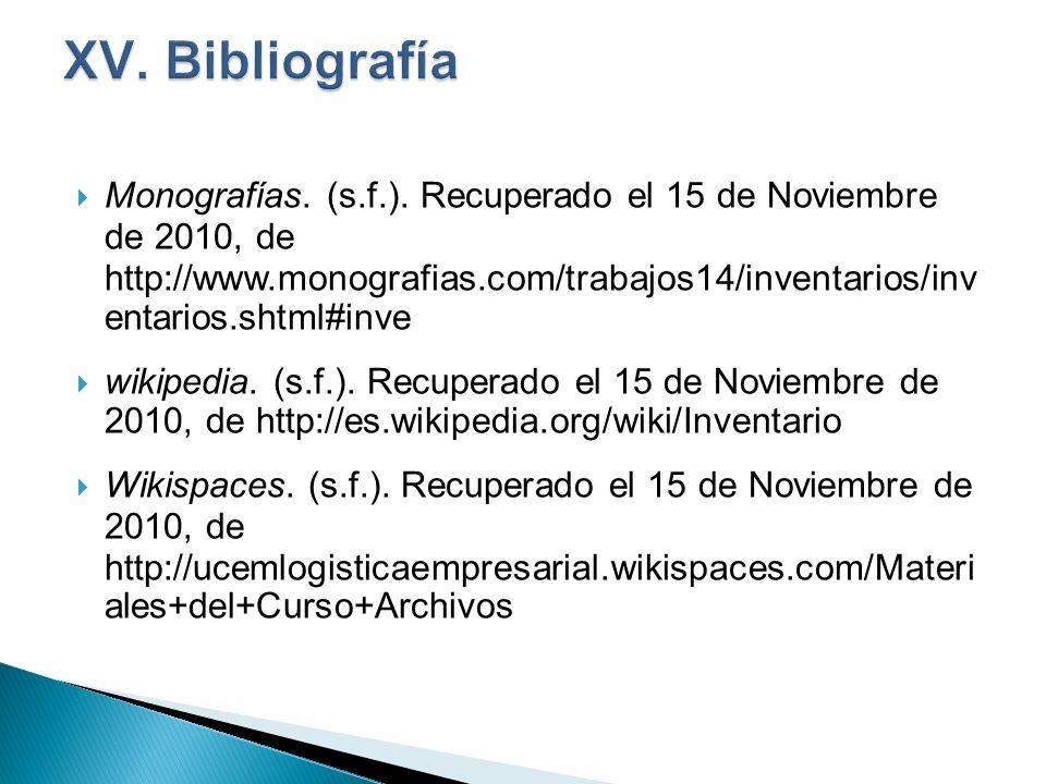 XV. Bibliografía