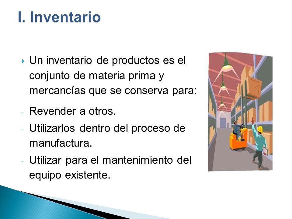 I. InventarioUn inventario de productos es el conjunto de materia prima y mercancías que se conserva para:
