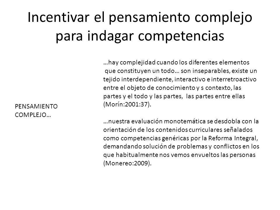 Incentivar el pensamiento complejo para indagar competencias