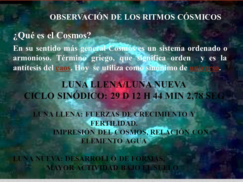 LUNA LLENA/LUNA NUEVA CICLO SINÓDICO: 29 D 12 H 44 MIN 2,78 SEG