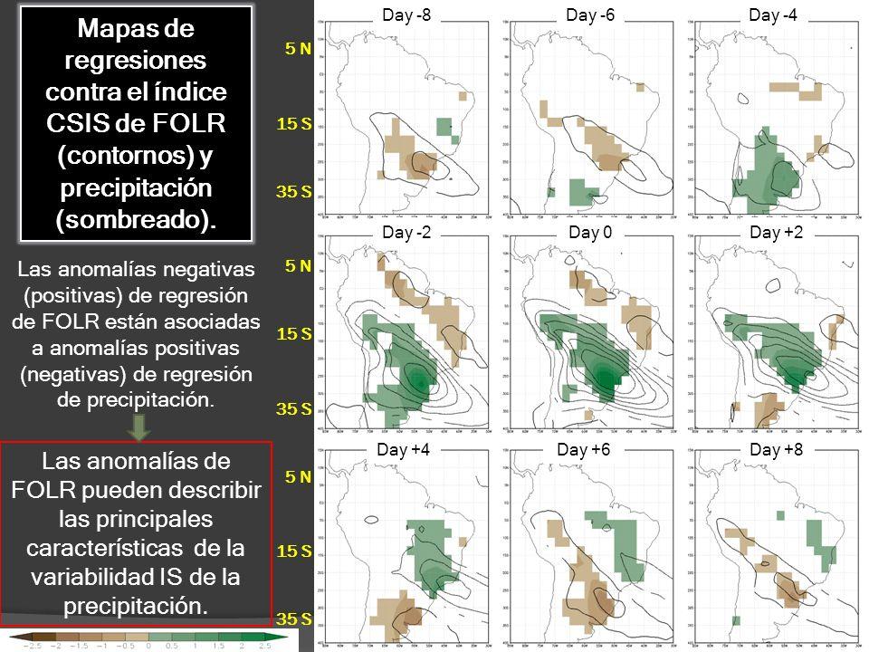 Day -8 Day -6. Day -4. Mapas de regresiones contra el índice CSIS de FOLR (contornos) y precipitación (sombreado).