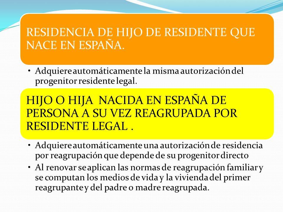 RESIDENCIA DE HIJO DE RESIDENTE QUE NACE EN ESPAÑA.