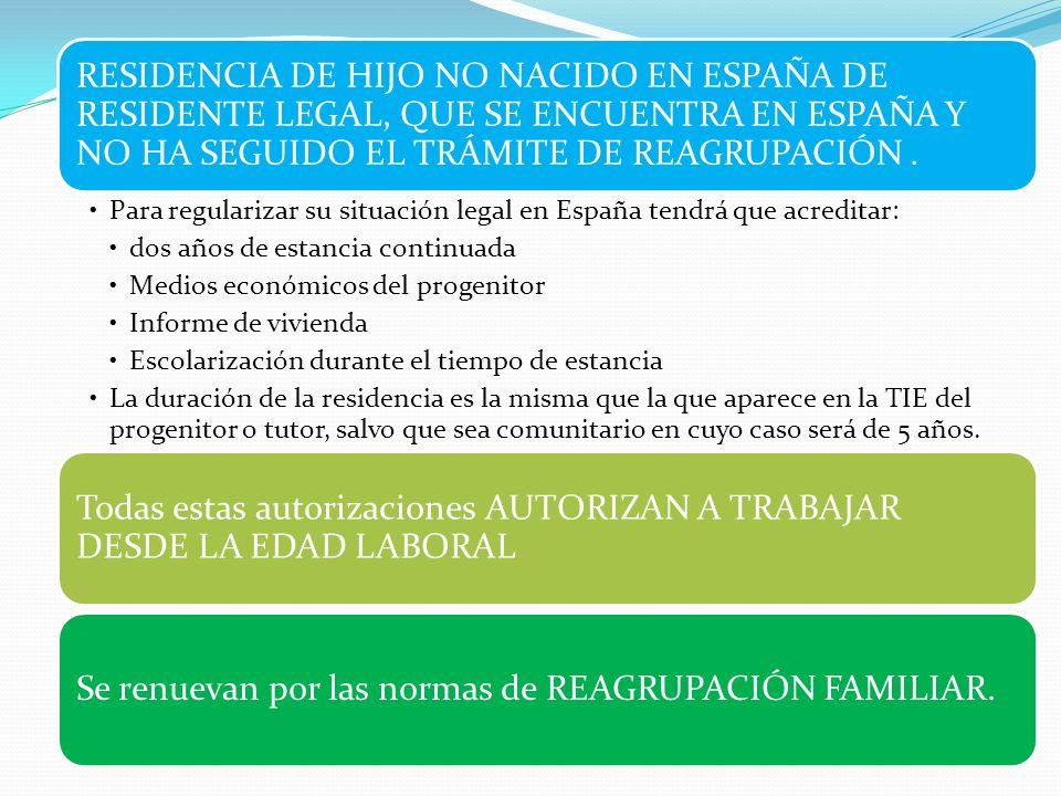 RESIDENCIA DE HIJO NO NACIDO EN ESPAÑA DE RESIDENTE LEGAL, QUE SE ENCUENTRA EN ESPAÑA Y NO HA SEGUIDO EL TRÁMITE DE REAGRUPACIÓN .