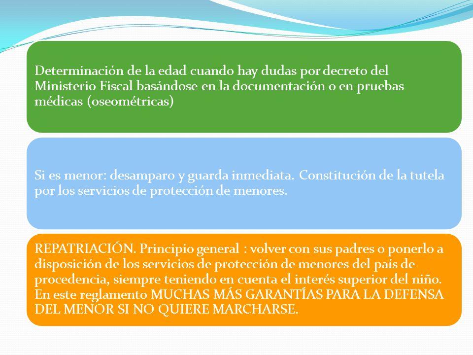 Determinación de la edad cuando hay dudas por decreto del Ministerio Fiscal basándose en la documentación o en pruebas médicas (oseométricas)