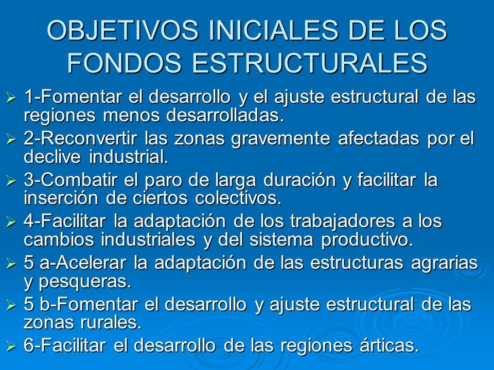 OBJETIVOS INICIALES DE LOS FONDOS ESTRUCTURALES