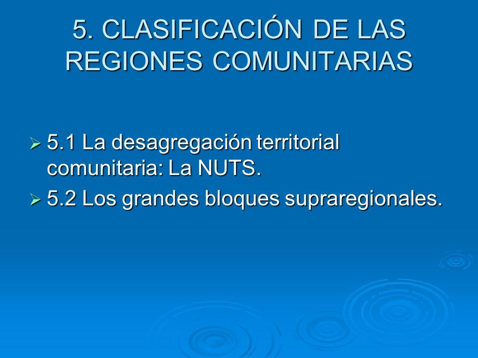 5. CLASIFICACIÓN DE LAS REGIONES COMUNITARIAS
