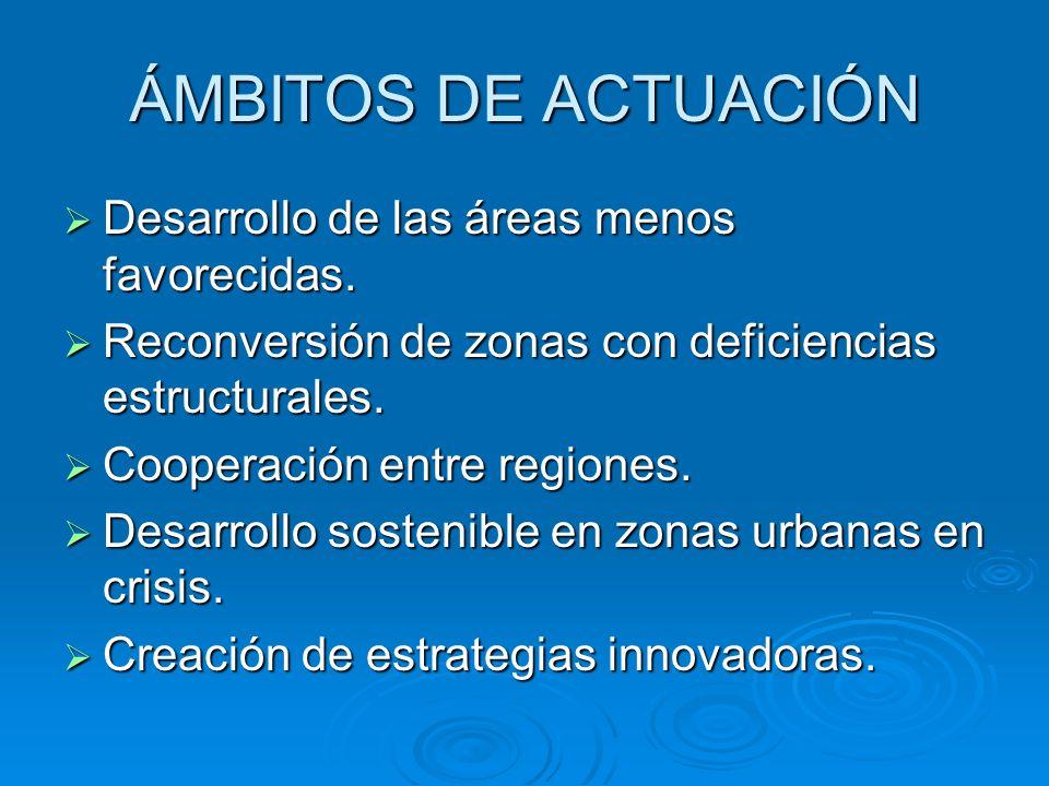 ÁMBITOS DE ACTUACIÓN Desarrollo de las áreas menos favorecidas.