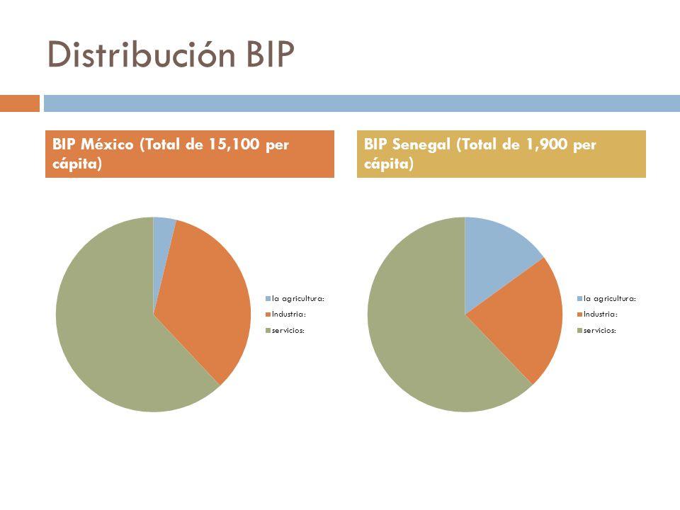 Distribución BIP BIP México (Total de 15,100 per cápita)
