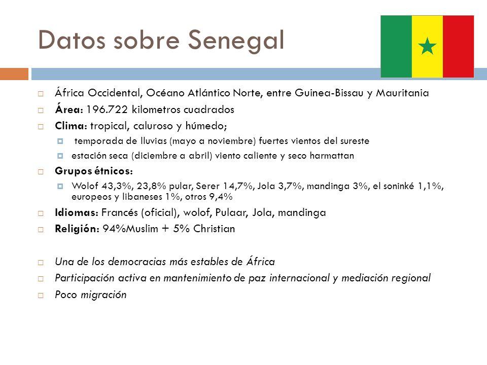 Datos sobre Senegal África Occidental, Océano Atlántico Norte, entre Guinea-Bissau y Mauritania. Área: 196.722 kilometros cuadrados.