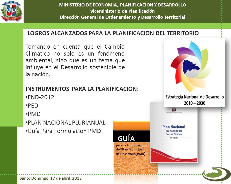 GUíA LOGROS ALCANZADOS PARA LA PLANIFICACION DEL TERRITORIO