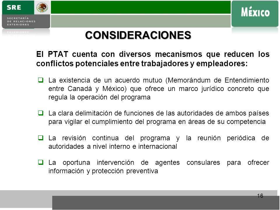 CONSIDERACIONES El PTAT cuenta con diversos mecanismos que reducen los conflictos potenciales entre trabajadores y empleadores: