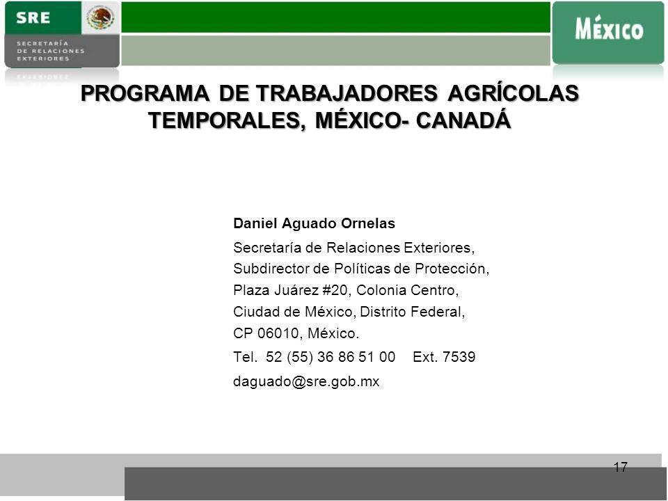 PROGRAMA DE TRABAJADORES AGRÍCOLAS TEMPORALES, MÉXICO- CANADÁ