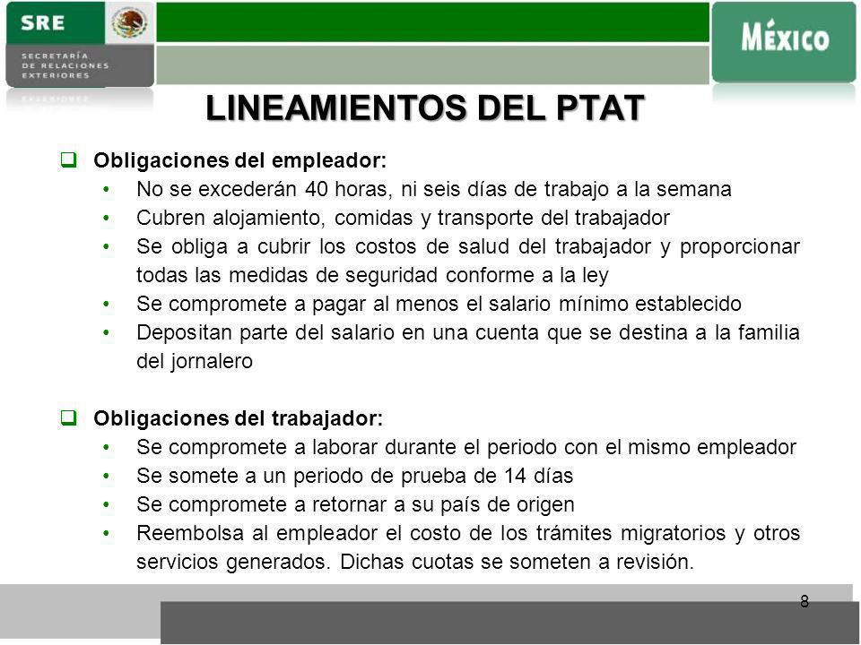 LINEAMIENTOS DEL PTAT Obligaciones del empleador: