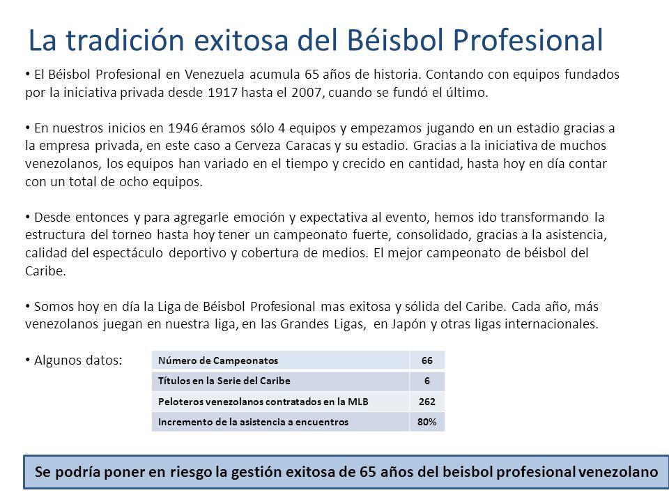 La tradición exitosa del Béisbol Profesional