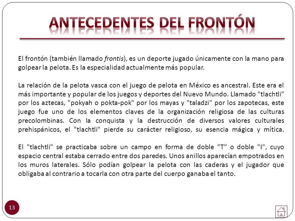 ANTECEDENTES DEL FRONTÓN