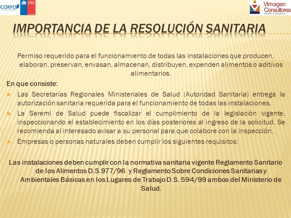 IMPORTANCIA DE LA Resolución sanitaria