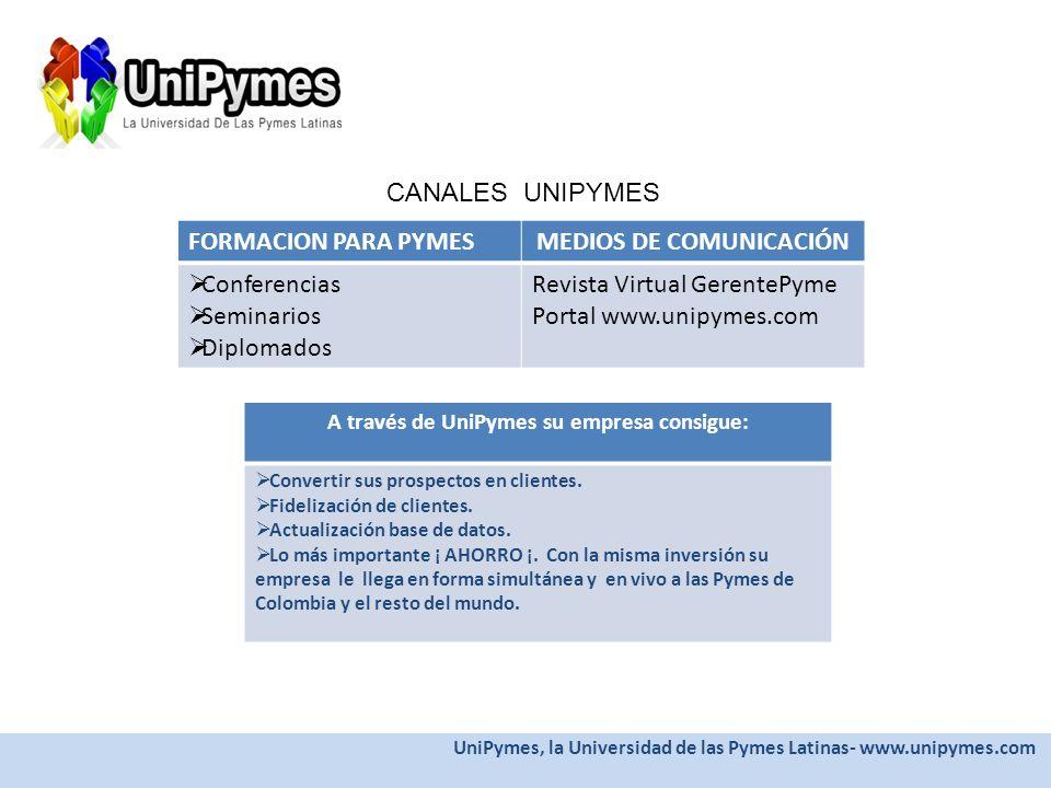 MEDIOS DE COMUNICACIÓN A través de UniPymes su empresa consigue: