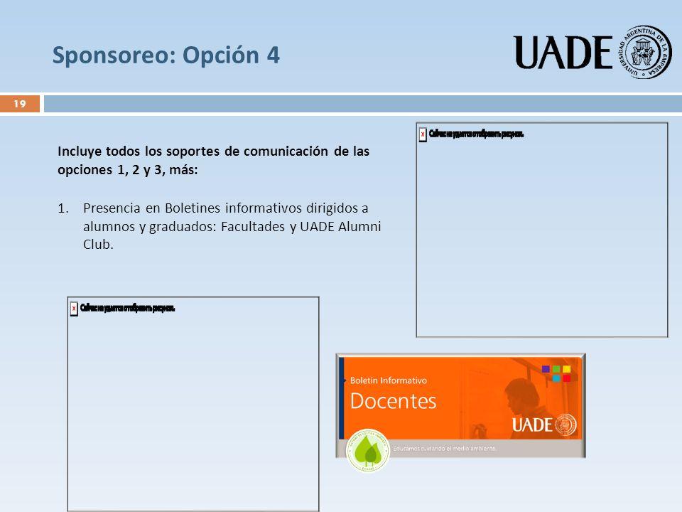 Sponsoreo: Opción 4 Incluye todos los soportes de comunicación de las opciones 1, 2 y 3, más: