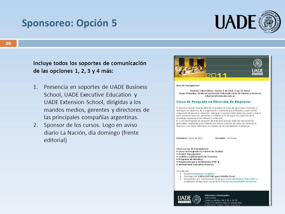 Sponsoreo: Opción 5 Incluye todos los soportes de comunicación de las opciones 1, 2, 3 y 4 más: