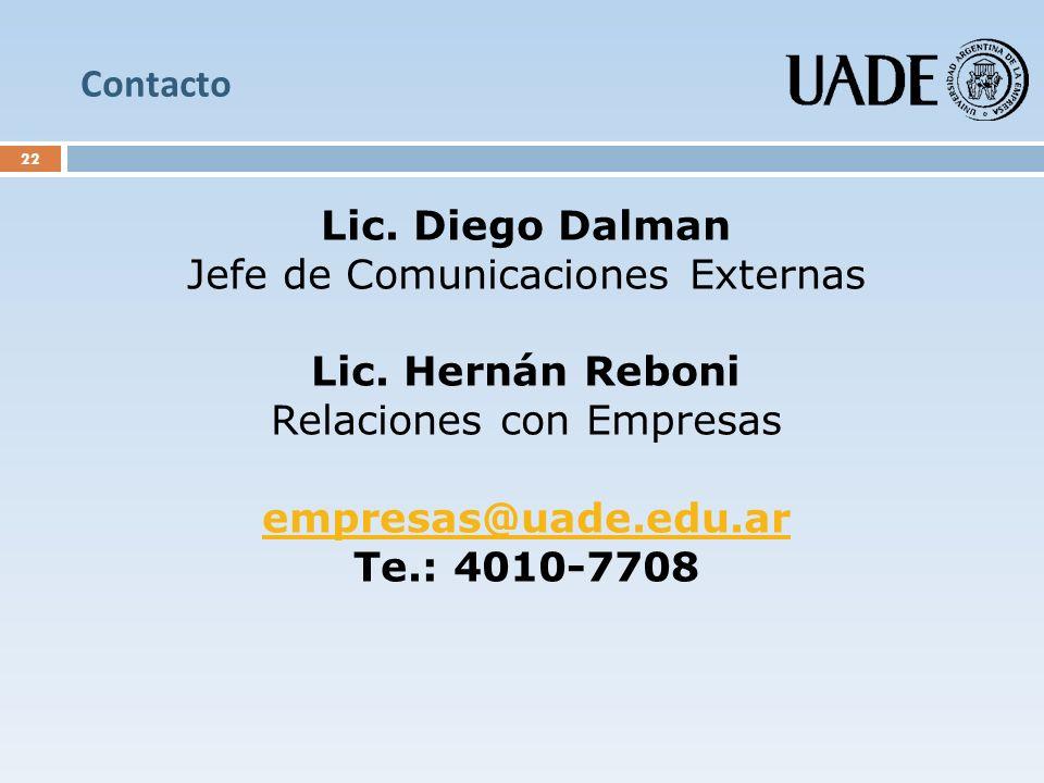 Jefe de Comunicaciones Externas Lic. Hernán Reboni