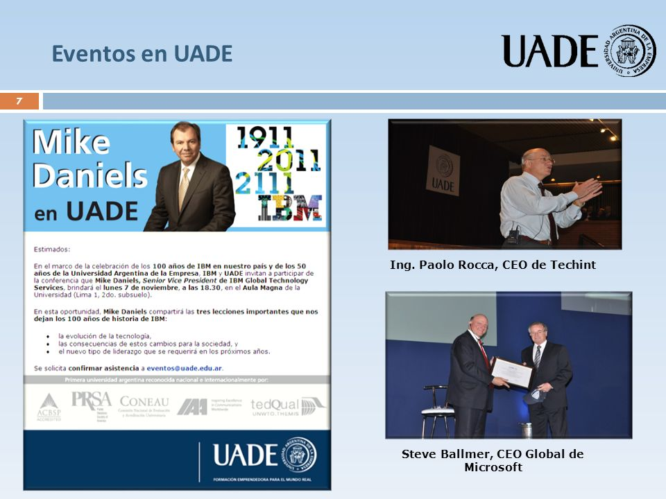 Eventos en UADE Ing. Paolo Rocca, CEO de Techint