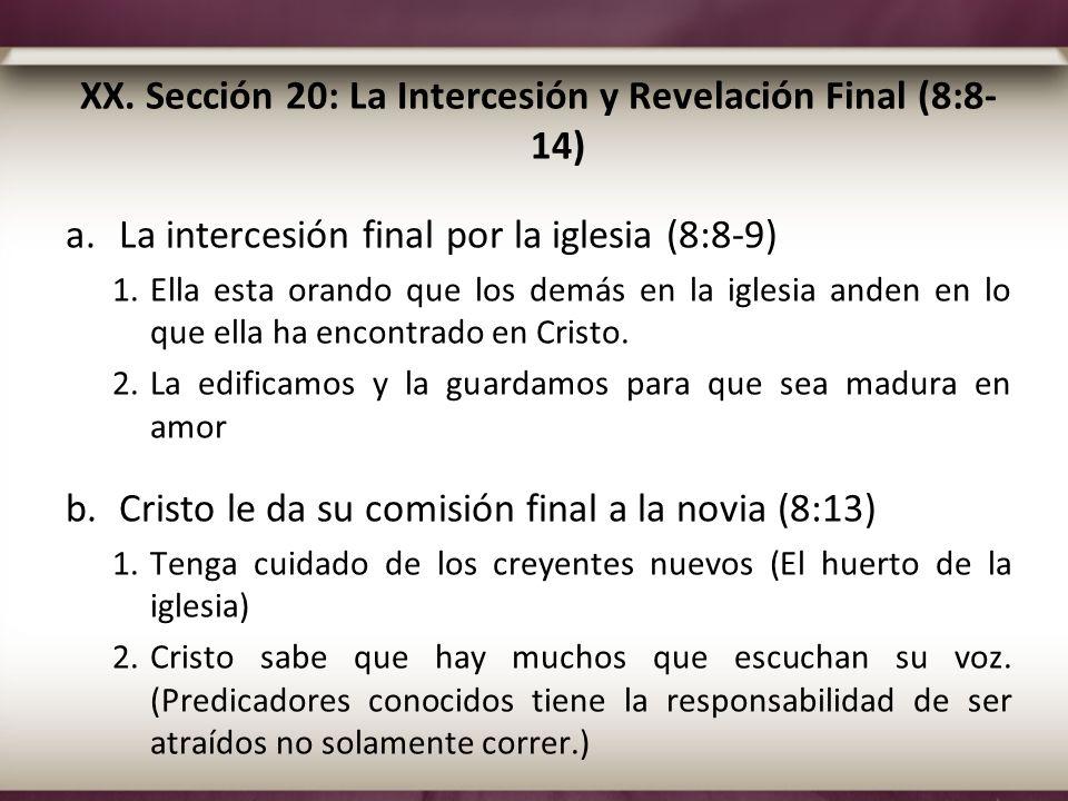 XX. Sección 20: La Intercesión y Revelación Final (8:8-14)