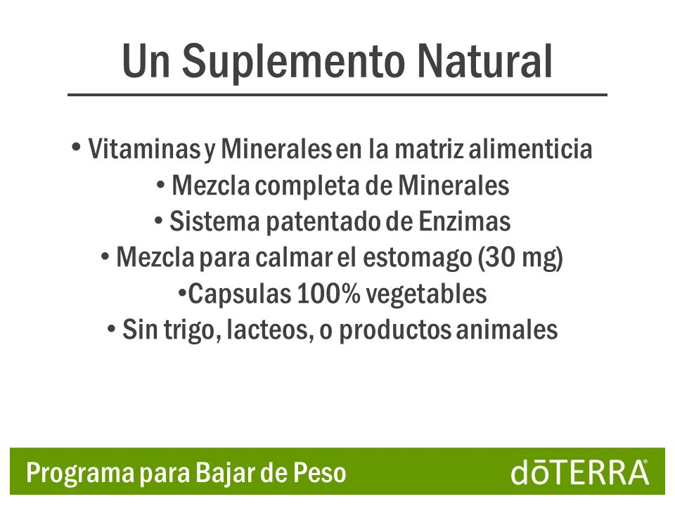 Un Suplemento Natural Vitaminas y Minerales en la matriz alimenticia